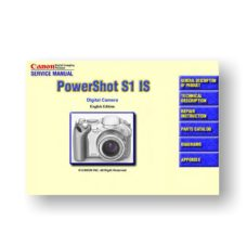 Canon PowerShot S1 IS Parts List Download