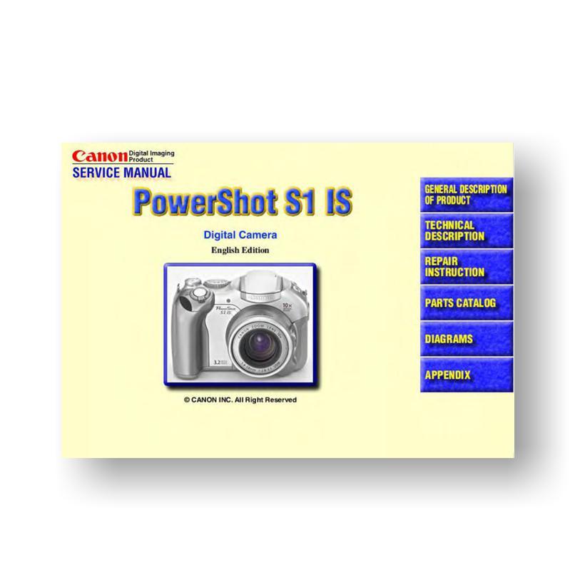 Canon PowerShot S1 IS Parts List Download