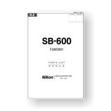 Nikon SB-600 Parts List