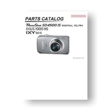 Canon PowerShot SD4500 IS Parts List Download