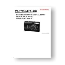 Canon PowerShot SD990 IS Parts List Download