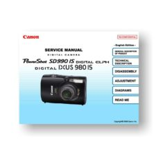 Canon PowerShot SD990 IS Service Manual Parts List Download