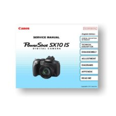 134-page PDF 11.72 MB download for the Canon SX10 IS Service Manual Parts Catalog | Powershot