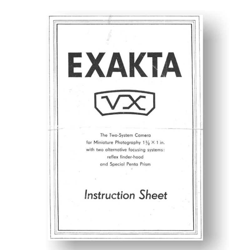 Exakta VX Owners Manual Download