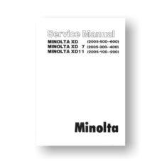 Minolta 2005 Service Manual Parts List | XD | XD 7 | XD 11