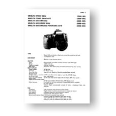 Minolta 2099 Service Manual Parts List | Maxxum 300si