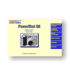180-page PDF 7.97 MB download for the Canon G6 Service Manual Parts Catalog | Powershot