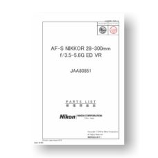 Nikon Nikkor AF-S 28-300 3.5-5.6 G ED VR Parts List Download