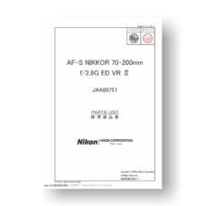Nikon Nikkor AF-S 70-200 2.8 G ED VR II Parts List Download