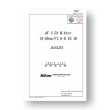 Nikkor JAA80351 Repair Manual | Nikkor AF-S DX 18-55 3.5-5.6 G VR