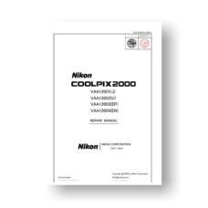 52-page PDF 3.02 MB download for the Nikon VAA12001 Repair Manual Parts List | Coolpix 2000