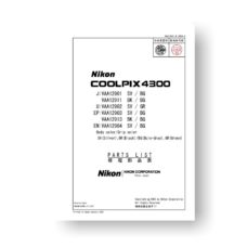 13-page PDF 505 KB download for the Nikon Coolpix 4300 Parts List | Digital Compact Cameras