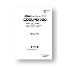 82-page PDF 4.5 MB download for the Nikon Coolpix 700 Parts List | Digital Compact Camera