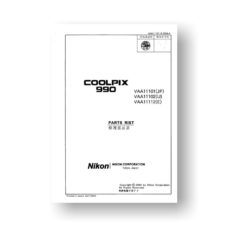 12-page PDF 634 KB download for the Nikon Coolpix 990 Parts List | Digital Compact Camera