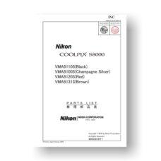 Nikon Coolpix S8000 Parts List Download
