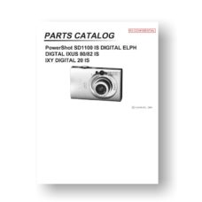 27-page PDF 3.34 MB download for the Canon SD1100 Parts Catalog | PowerShot