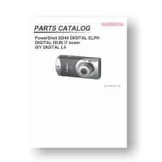 23-page PDF 1.14 MB download for the Canon SD40 Parts Catalog | PowerShot