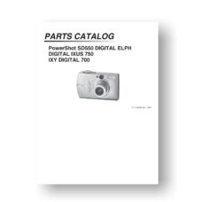 25-page PDF 1.12 MB downoad for the Canon SD550 Parts Catalog | PowerShot