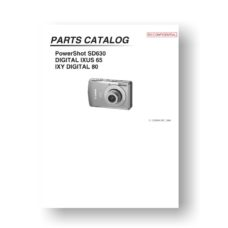 19-page PDF 770 KB dwonload for the Canon SD630 Parts Catalog | PowerShot
