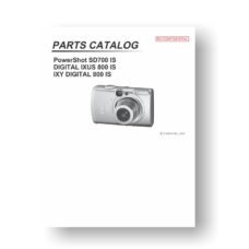 19-page PDF 1.05 MB download for the Canon SD700 IS Parts Catalog | PowerShot