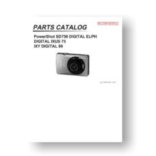 19-page PDF 1.37 MB download for the Canon SD750 Parts Catalog | Powershot