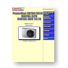 166-page PDF 14.3 MB download for the Canon SD750 Service Manual Parts Catalog | PowerShot