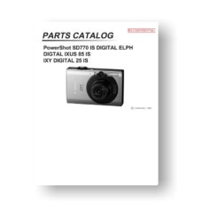 27 page PDF 3.09 MB download for the Canon SD770 IS Parts Catalog | PowerShot