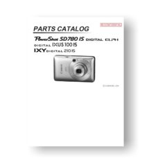 24-page PDF 3.99 MB download for the Canon SD780 IS Parts Catalog | Powershot