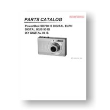 Canon PowerShot SD790 IS Parts List Download
