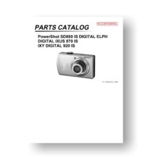 Canon PowerShot SD880 IS Parts List Download