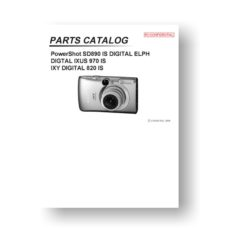 Canon PowerShot SD890 IS Parts List Download