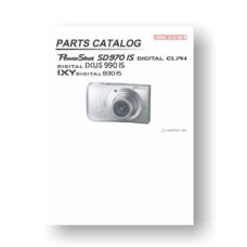 Canon PowerShot SD970 IS Parts List Download
