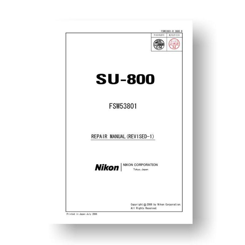 Nikon Speedlight SU 800 Service Manual Parts List Download