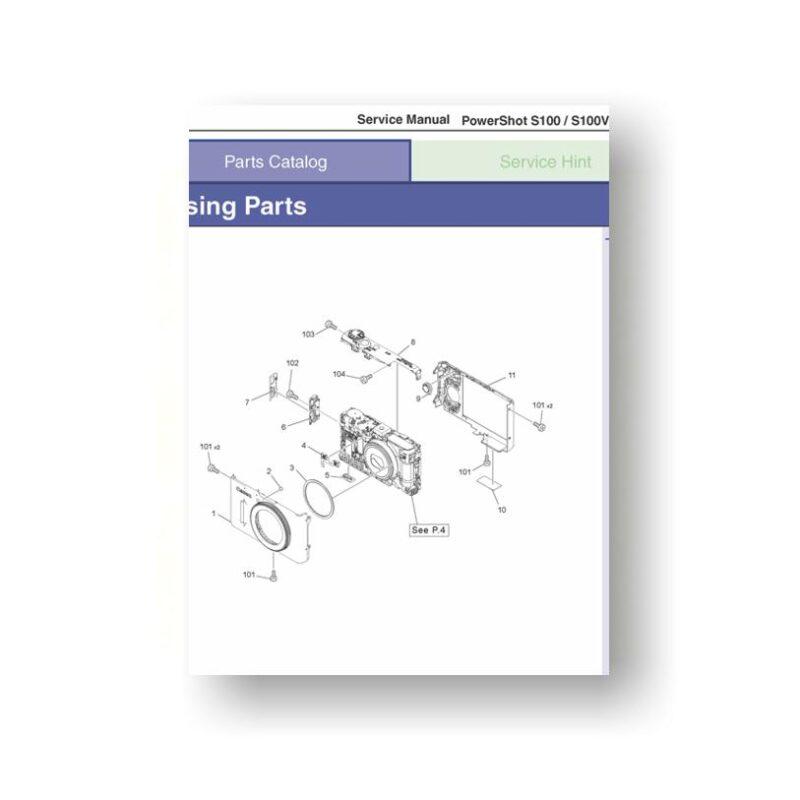Canon PowerShot S100 S100V Parts List Download