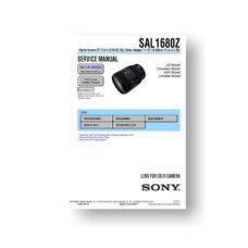 Sony Service Manual SAL1680Z | DT 3.5-4.5 16-80 ZA Lens