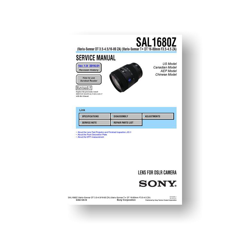 sony service manual sal1680z dt 3 5 4 5 16 80 za lens rh uscamera com Sony TV Repair Manual DPX300U Manual