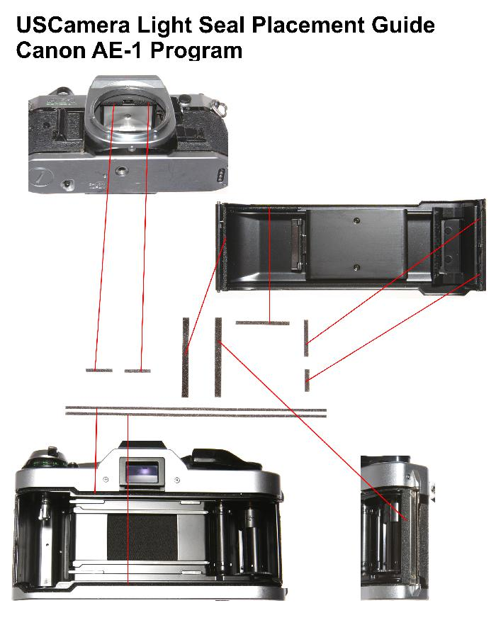 USCamera Light Seal Placement Guide | Canon AE-1 Program