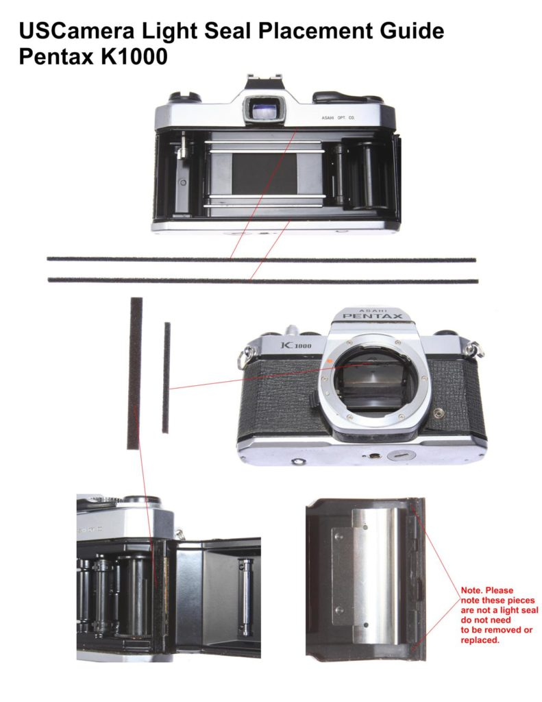 USCamera Light Seal Placement Guide | Pentax K1000 Plus