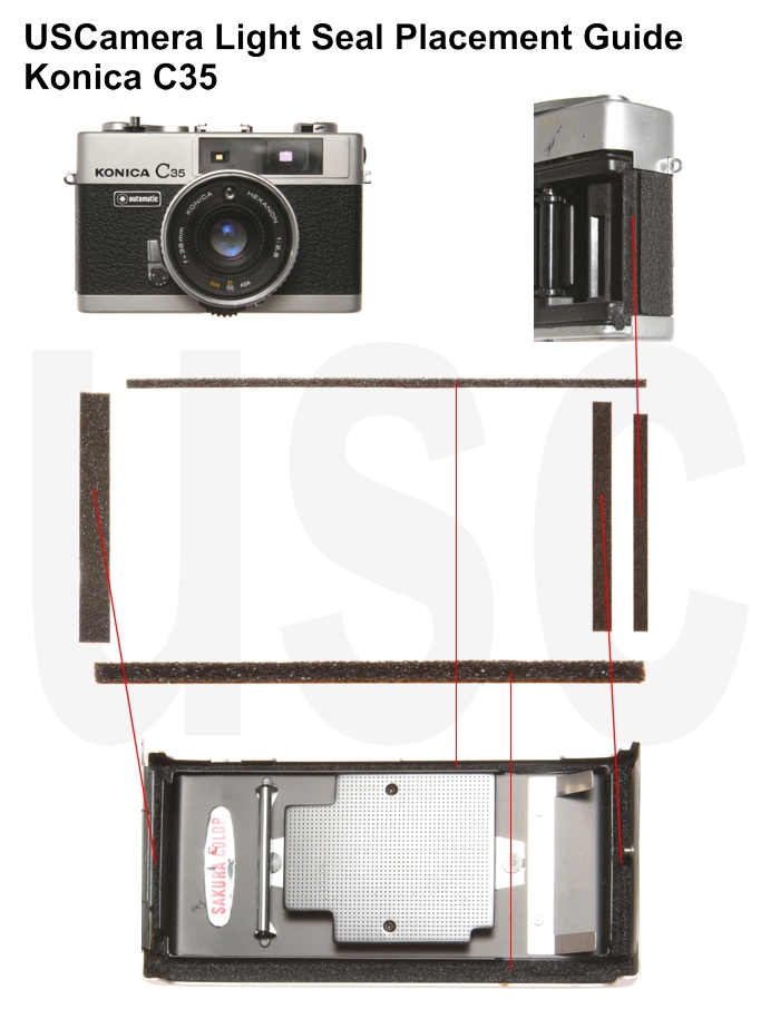 USCamera Light Seal Placement Guide | Konica C35