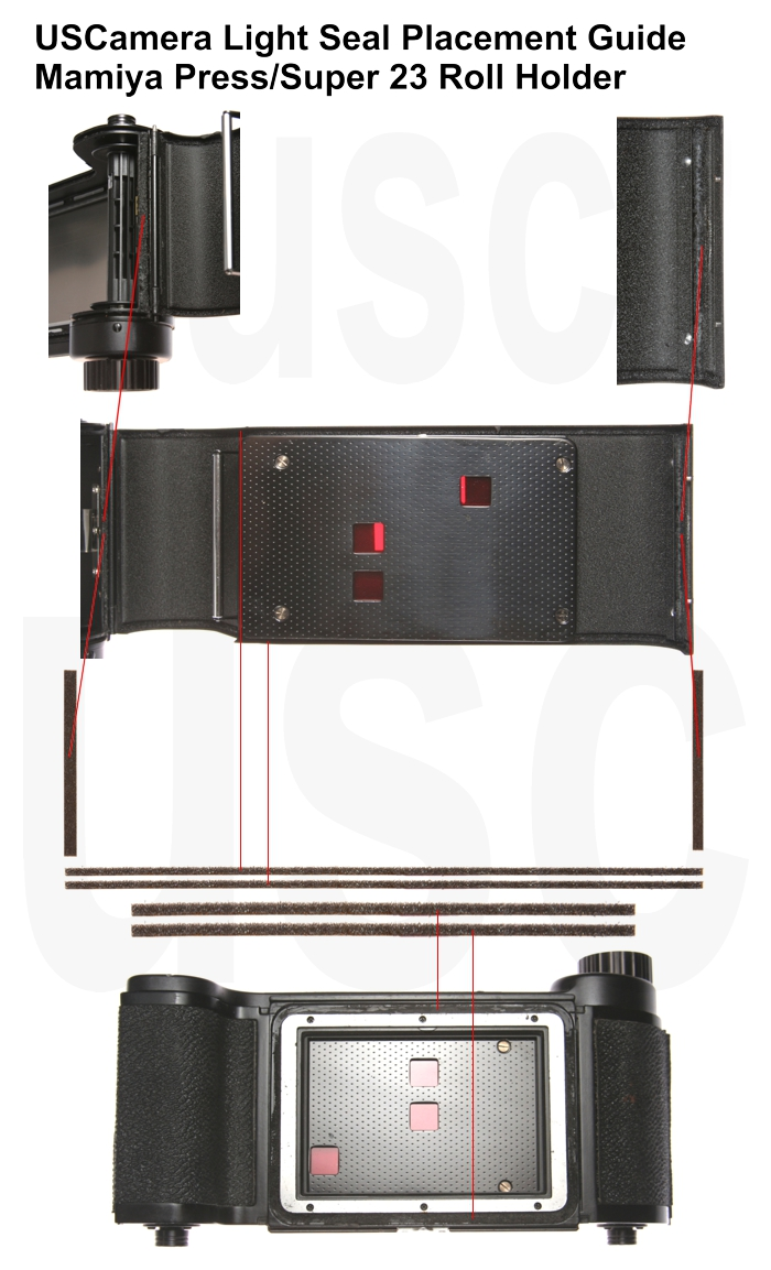 USCamera Light Seal Placement Guide | Mamiya Super 23 Film Back