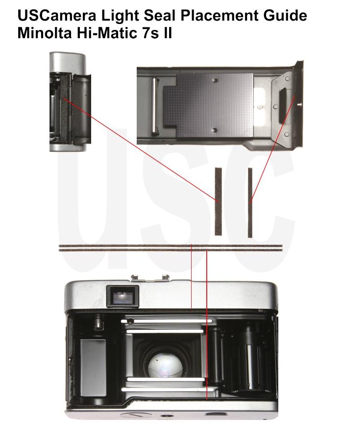 USCamera Light Seal Placement Guide | Minolta Hi-Matic 7s II