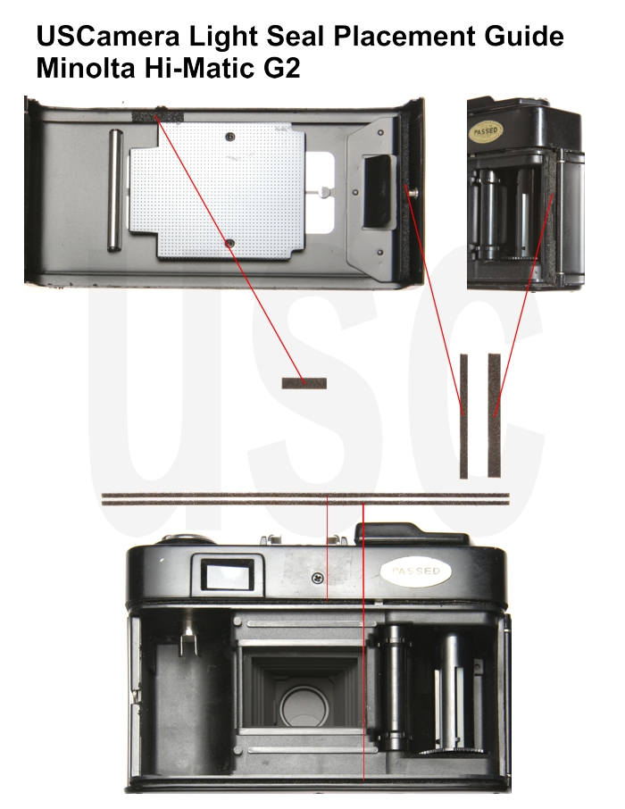USCamera Light Seal Placement Guide | Minolta Hi-Matic GII