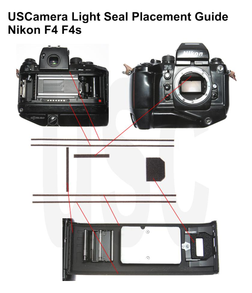 USCamera Light Seal Placement Guide | Nikon F4 F4s