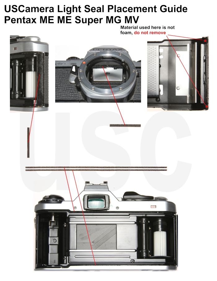 USCamera Light Seal Placement Guide | Pentax ME Super Plus
