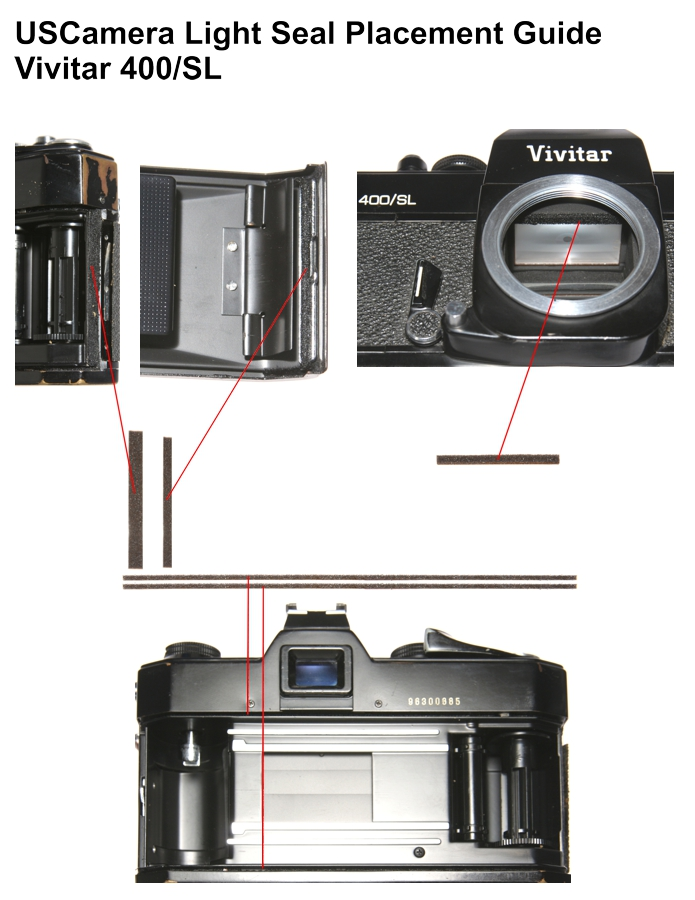 USCamera Light Seal Placement Guide | Vivitar 400/SL