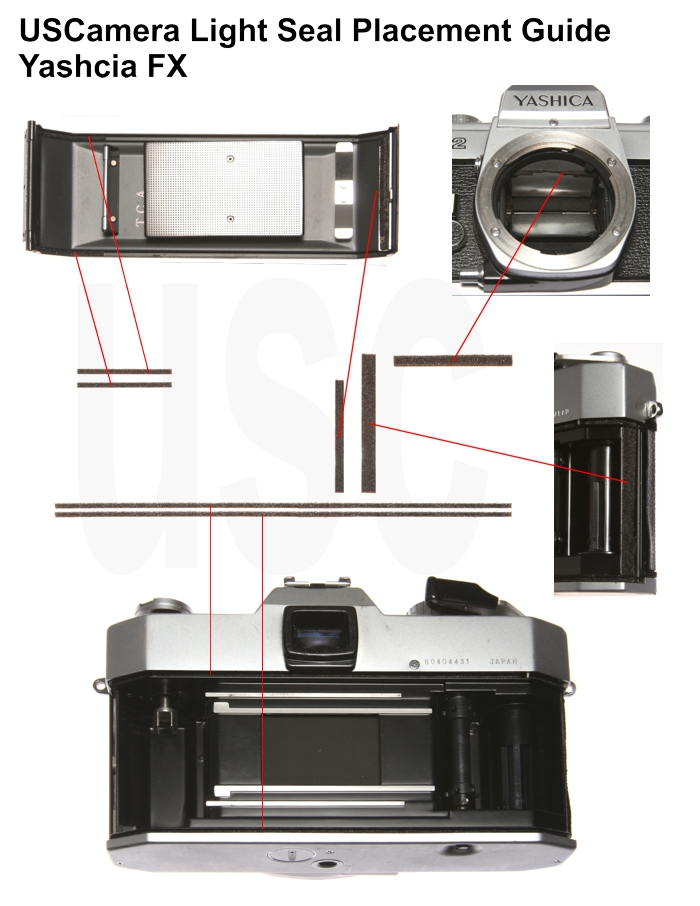 USCamera Light Seal Placement Guide | Yashica FX1 FX2