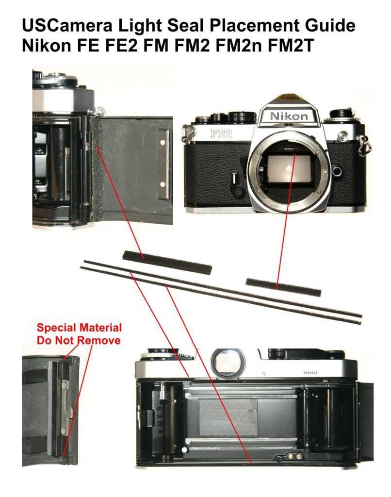 USCamera Light Seal Placement Guide | Nikon FE FM