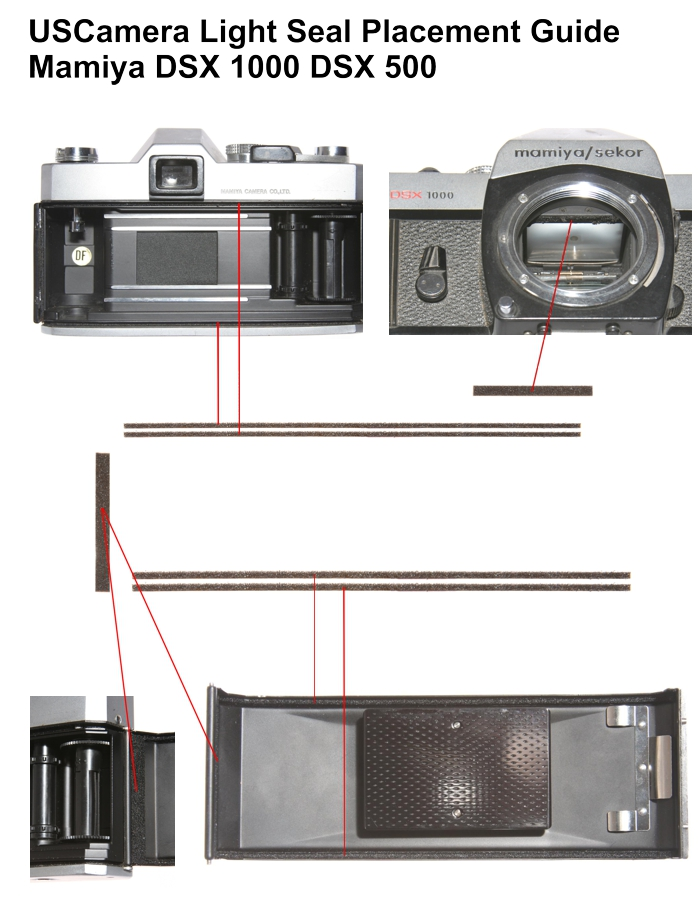 USCamera Light Seal Placement Guide   Mamiya DSX 1000
