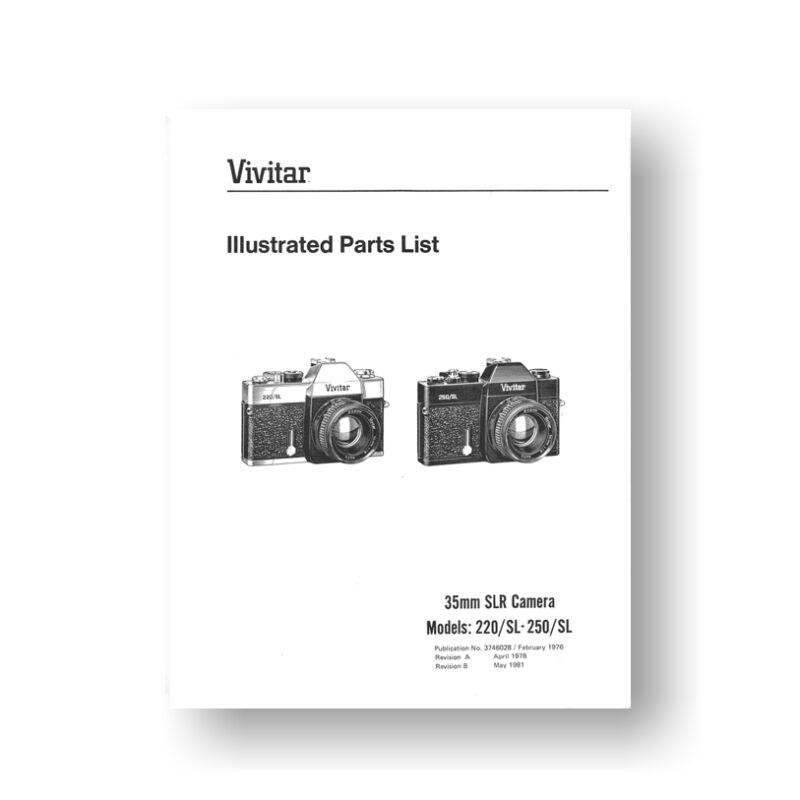 37-page PDF 706 KB download for the Vivitar 220SL Parts List | 250SL | 35mm SLR Cameras