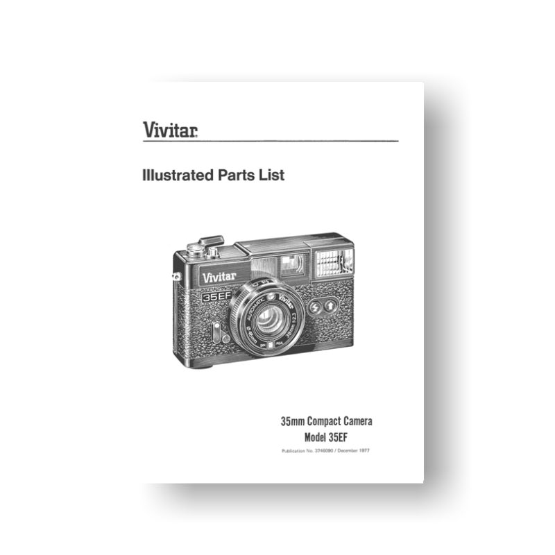 13-page PDF 235 KB download for the Vivitar 35EF Parts List | 35mm Compact